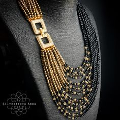 Best 12 And some photos of luxurious black … # photos - Diy Jewelry Unique Bead Jewellery, Pearl Jewelry, Gemstone Jewelry, Beaded Jewelry, Jewelery, Beaded Bracelets, Seed Bead Necklace, Diy Necklace, Necklace Designs
