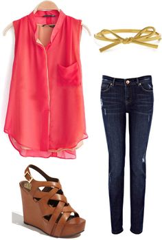 Coral top, jeans, and brown wedges