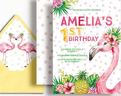 Flamingo Invitation Girls Birthday Floral by WestminsterPaperCo