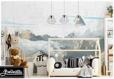 Mountains Wallpaper Woodland Wall Decals Nursery Baby Room Gray Blue Wall Art Repositionable Wall Mural Peel & Stick Kids Pattern Removable