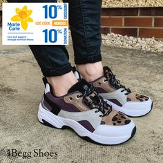 🐆 Leopard print chunky trainers - right on trend for this season! 😍 Get 10% off these and more and we'll donate a further 10% to @mariecurieuk  Get the full range here 👉 www.beggshoes.com/Womens/bugatti-shoes/  #bugatti #trainers #sneakers #shoesoftheday Lace Weave, Bags 2014, Sports Luxe, Pink Leather, Shoe Sale, Bugatti, Summer Shoes, Casual Shoes