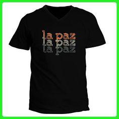 Idakoos - La Paz repeat retro - Capitals - V-Neck T-Shirt - Retro shirts (*Amazon Partner-Link)