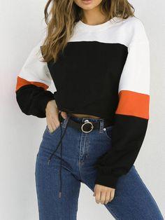 77f14892da Talever White Round Neck Patchwork Casual Cotton Sweatshirt | Talever
