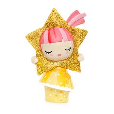 Star - limited edition Momiji are handpainted resin message dolls. Turn them upside down...inside every one there's a tiny folded card for your own secret message. Spread the love.All dolls are approx 8cm (3in) tall.