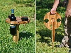 pique nique - support bouteille de vin et verre
