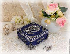 """Купить Шкатулка """"Слеза счастья"""" - синий, для украшений, подарки для женщин, интерьер, фотостудия, Красивые вещи"""