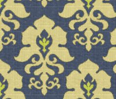 Ikat Frame Denim fabric by littlerhodydesign on Spoonflower - custom fabric