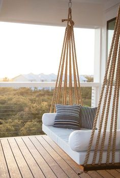 Charming Porch Swing Design Ideas www. Home Design: 80 Charming Porch Swing Design Ideas www.Home Design: 80 Charming Porch Swing Design Ideas www. Swing Design, Terrace Design, Patio Design, Garden Design, Fence Design, Window Design, Diy Swing, Rope Swing, Rope Fence