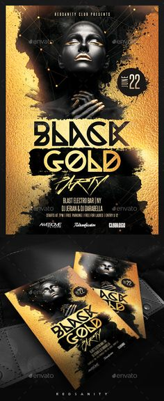 Buy Black Gold Party Flyer by Redsanity on GraphicRiver. Features Very easy to edit Photoshop template. Elements labeled in an organized folders. All text editable. Free Flyer Templates, Certificate Templates, Black Gold Party, Halloween Flyer, Flyer Design Inspiration, Black Gold Jewelry, Flyer Layout, Cool Business Cards, Party Poster
