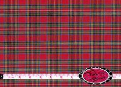HOMESPUN ROYAL STEWART Tartan Fabric by the Yard Half Yard or Fat Quarter Red & Green Plaid Fabric Quilting Apparel 100% Cotton Fabric w6-1