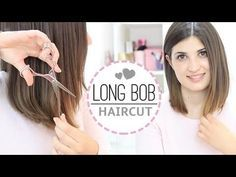 Long bob haircut diy, awesome for a quick trim Cut Own Hair, Trim Your Own Hair, How To Cut Your Own Hair, Cut Hair At Home, Long Bob Hairstyles, Trending Hairstyles, Diy Hairstyles, Bob Haircuts, Hairstyles Videos