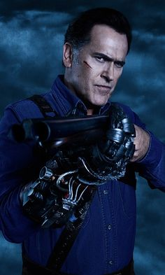 """Evil Dead Bruce Campbell as """"Ashley 'Ash' J. Ash Williams, Expendables Tattoo, The Expendables, Lucy Lawless, New Movies, Movies And Tv Shows, Evil Dead Trilogy, Bruce Campbell Evil Dead, Ash Evil Dead"""