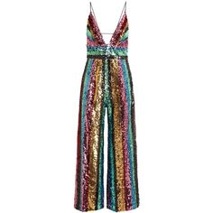 Free People Margarita Striped Sequinned Jumpsuit - Size 6 ($410) ❤ liked on Polyvore featuring jumpsuits, sequin jump suit, plunge jumpsuit, free people jumpsuit, striped jumpsuit and sequined jumpsuits