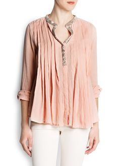 Beaded cotton blouse