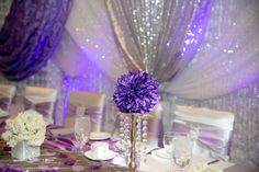Purple lilac silver and Bling wedding decorations and table scapes diamonds and satin tablecape Bling Wedding Decorations, Table Scapes, Purple Lilac, Diamonds, Wedding Photography, Satin, Silver, Money, Satin Tulle