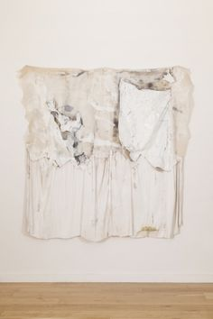 Isabel Yellin, A Crumbling Delicacy Folded Up Behind Me, 2014, Mixed Fabric, Oil, Rope, Tape, Tissue Paper, Grout, 70 7/8 x 8 1/4 in.