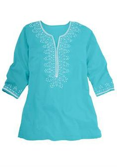 Tunic top with sequin embroidery by Chelsea Studio® | Plus Size Chelsea Studio | Woman Within