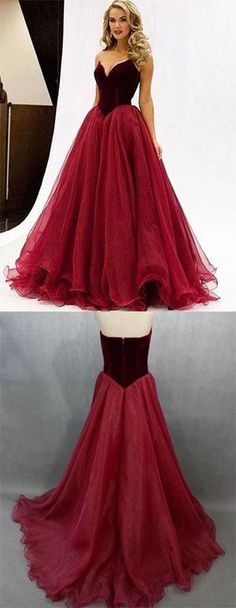 Sexy A line V-Neck Prom Dress,Noble Strapless Evening Dress,Long Prom Dresses,Organza Prom Dresses,91