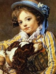 ⍕ Paintings of People & Pets ⍕ Jean-Baptiste Greuze | Boy with Dog