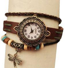 Frauen Hand Knit-Leder-Band-Analog-Quarz-Weinlese-Armband-Uhr Dragonfly – EUR € 8.27