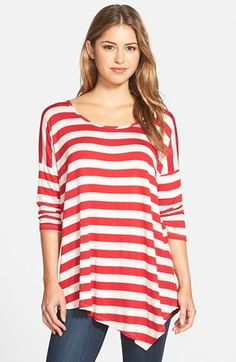 Bobeau Stripe Asymmetrical Tee available at #Nordstrom