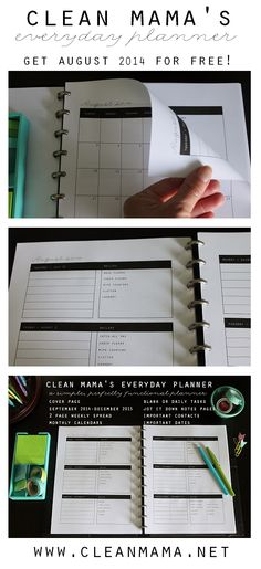 Clean Mama's Everyday Planner | a simple, perfectly functional planner - Get August 2014 for FREE via Clean Mama