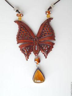 Купить Колье БАБОЧКА - авторская работа, натуральная кожа, натуральные камни, купить, купить подарок