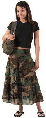 Womens Camouflage Skirts Camo Gauze Skirt Womens Camo Skirts $31.35