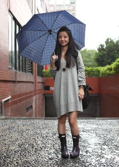oversized sweater and rain boots