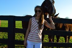 Spring Chic takes beautiful Lexington Horse Farm. Get this pink and white tweed top and white jean combo on She's A Southern Belle.