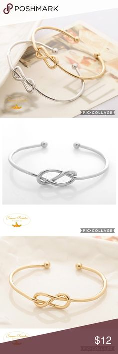 BOGO50% OFF SALE!NWT Love Knot Bracelet Simple delicate high quality DOUBLE love knot cuff bracelet in Silver or Gold.                                          BOGO 50% OFF! Buy 1 item and get 2nd item of equal or less price at 50% OFF! Ask for a BOGO 50 bundle listing for your selections!                                                               FREE GIFT with purchase over $10!          Tags: J.Crew, Bauble Bar, Love knot bracelet Summer Paradise  Jewelry Bracelets