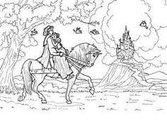 お城に向う白馬のプリンス、白雪姫の塗り絵の下絵、画像