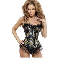 Wholesale Sexy Plus Size Strapless Burlesque Corsets And Bustiers Shapewear Gothic Steampunk Corselet Cincher Boned Gold Flower