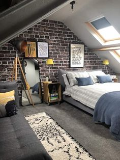An exposed brick feature wall mural with Rebel walls. - An exposed brick feature wall mural with Rebel walls. Teen Room Decor Ideas brick exposed feature M - Attic Bedroom Designs, Attic Design, Attic Rooms, Interior Design, Attic Bedroom Ideas For Teens, Attic Bathroom, Attic Ideas, Loft Design, Luxury Interior
