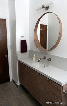 Hall Bath | Flickr - narrow sink and vanity with custom walnut veneer, wall mounted faucet
