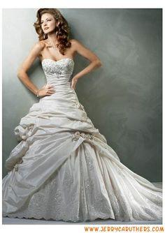 strapless geliefde prinses plooien taft trouwjurk