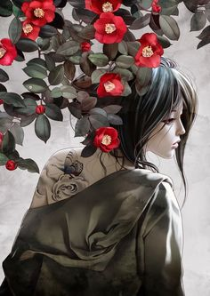 rosework - art by Zhang Xiao Bai Art Anime Fille, Anime Art Girl, Art Geisha, Art Chinois, Art Manga, Art Asiatique, Art Japonais, Japan Art, Fantasy Artwork