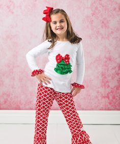 Loving this Red & Green Christmas Tree Tee Set - Infant, Toddler & Girls on #zulily! #zulilyfinds