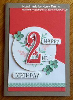 Stampin Up Number of Years, Feminine Card, Handmade Birthday Card