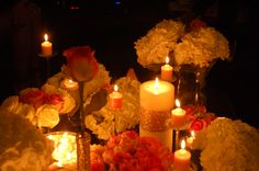 pink & gold . flowers & candles