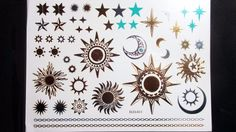 Gold Sun Stars Temporary Henna Tattoos Transfer Silver Arm Fake Tattoo Stickers