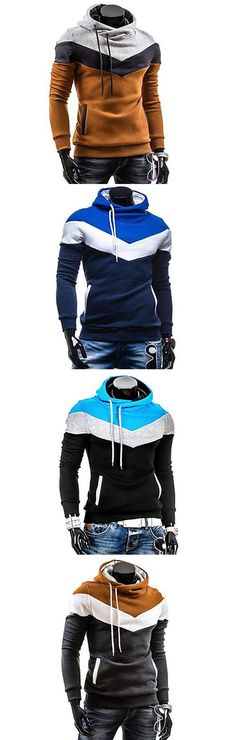 Men's Plus Size Color Block Sport Casual Hoodie