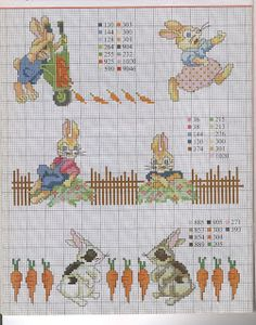 bunnies, carrots fence (more bunnies on page)