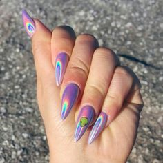 Glitter Manicure, Nail Manicure, Gel Nail, Best Acrylic Nails, Acrylic Nail Designs, Holographic Nails Acrylic, Acrylic Nails Chrome, Long Nails, My Nails