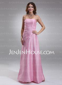 Bridesmaid Dresses - $99.99 - A-Line/Princess Strapless Floor-Length Taffeta Bridesmaid Dress With Ruffle (007001130) http://jenjenhouse.com/A-Line-Princess-Strapless-Floor-Length-Taffeta-Bridesmaid-Dress-With-Ruffle-007001130-g1130