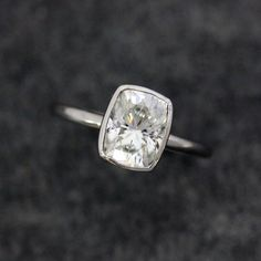 Engagement Ring with Moissanite and 14k Palladium White Gold, Solitaire 6x8mm Cushion Cut Gemstone Ring