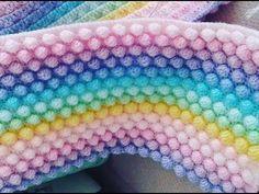 KOLAY ANLATIMLI POPCORN- BONİBON-FISTIK DOLGULU BATTANİYE YAPIMI (How to crochet the bobble stitch) - YouTube Crochet Bobble Blanket, Big Knit Blanket, Crochet Blanket Patterns, Knitted Blankets, Baby Knitting Patterns, Knitting Stitches, Pop Corn, Bobble Stitch, Knit Pillow