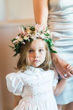 One seriously cute flower girl! http://www.stylemepretty.com/2015/12/15/summer-blush-peach-wedding-in-portugal/ | Photography: Brancoprata - http://www.brancoprata.com/