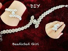 Simple Wedding Bracelet || Dainty Pearl Bracelet & Ring - YouTube Beaded Bracelets Tutorial, Bead Loom Bracelets, Beaded Bracelet Patterns, Woven Bracelets, Handmade Bracelets, Beaded Wedding Jewelry, Wedding Bracelet, Diy Crafts Jewelry, Jewelry Making Tutorials