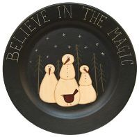 "Believe in the Magic Plate - Pressed wood oblong tray with distressed mustard yellow finish, stenciled berry vines and stars, and ""Amazing Grace"" in center. Christmas Love, Country Christmas, Christmas Snowman, Christmas Ornaments, Snowman Tree, Christmas Plates, Christmas Ideas, Snowman Crafts, Christmas Crafts"